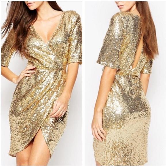 8c5ade40468 TFNC Kimono Sleeve Sequin Dress with Wrap Skirt